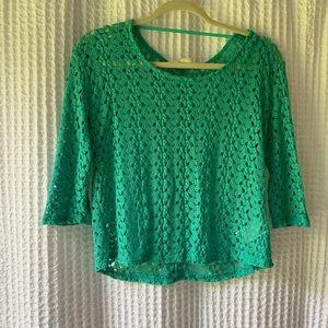 Teal Lace Long Sleeve Shirt
